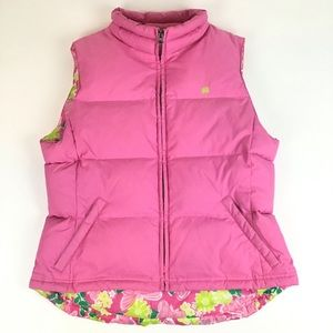 Lilly Pulitzer Pink Puffer Floral Print Vest Sz M